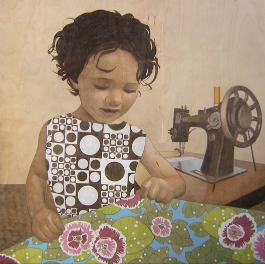 """sewing girl"" Sean Mahan Art"