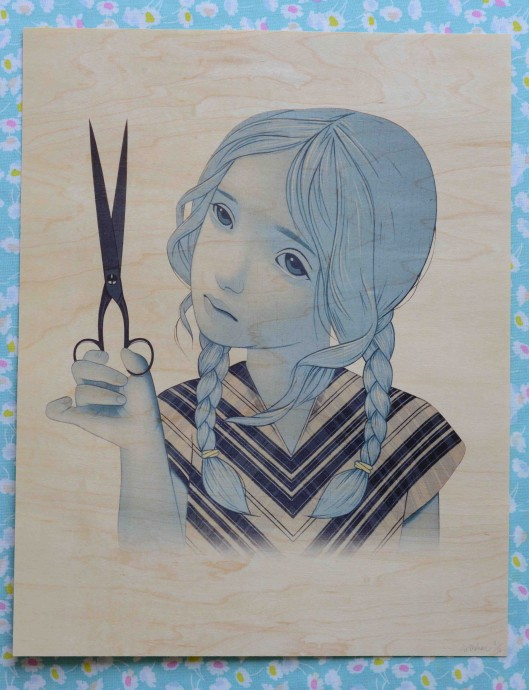 girl and scissors 11x14 sm